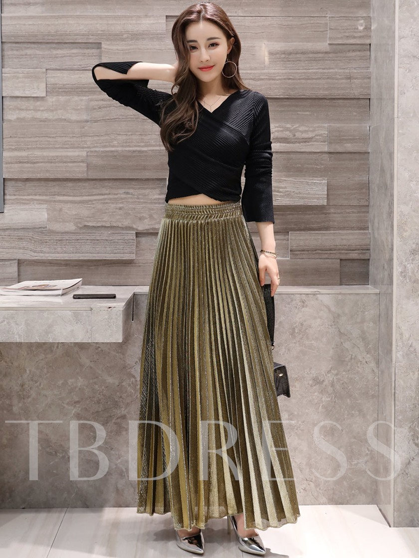 Pleated High Waist Women's Skirt