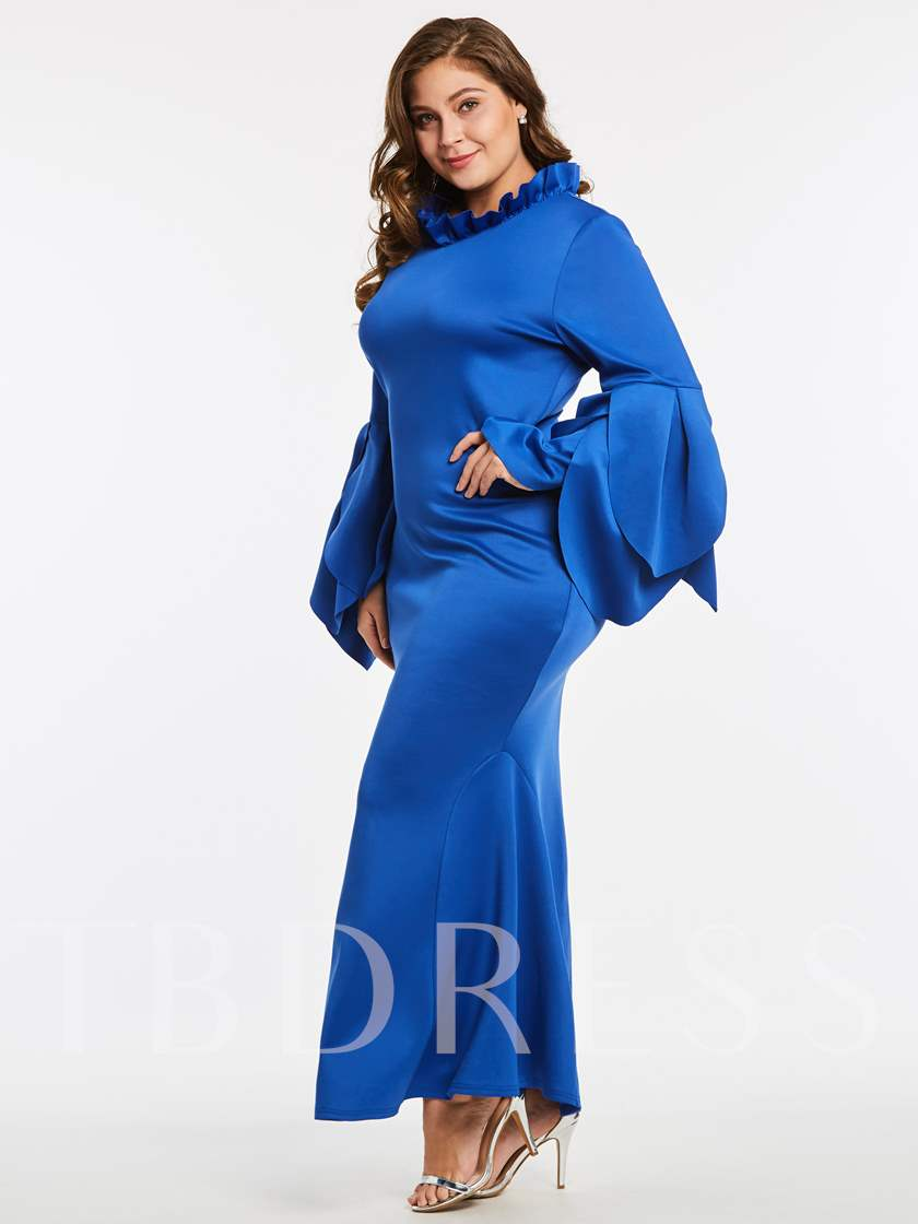 Royal Blue Bell Sleeve Plus Size Women's Maxi Dress