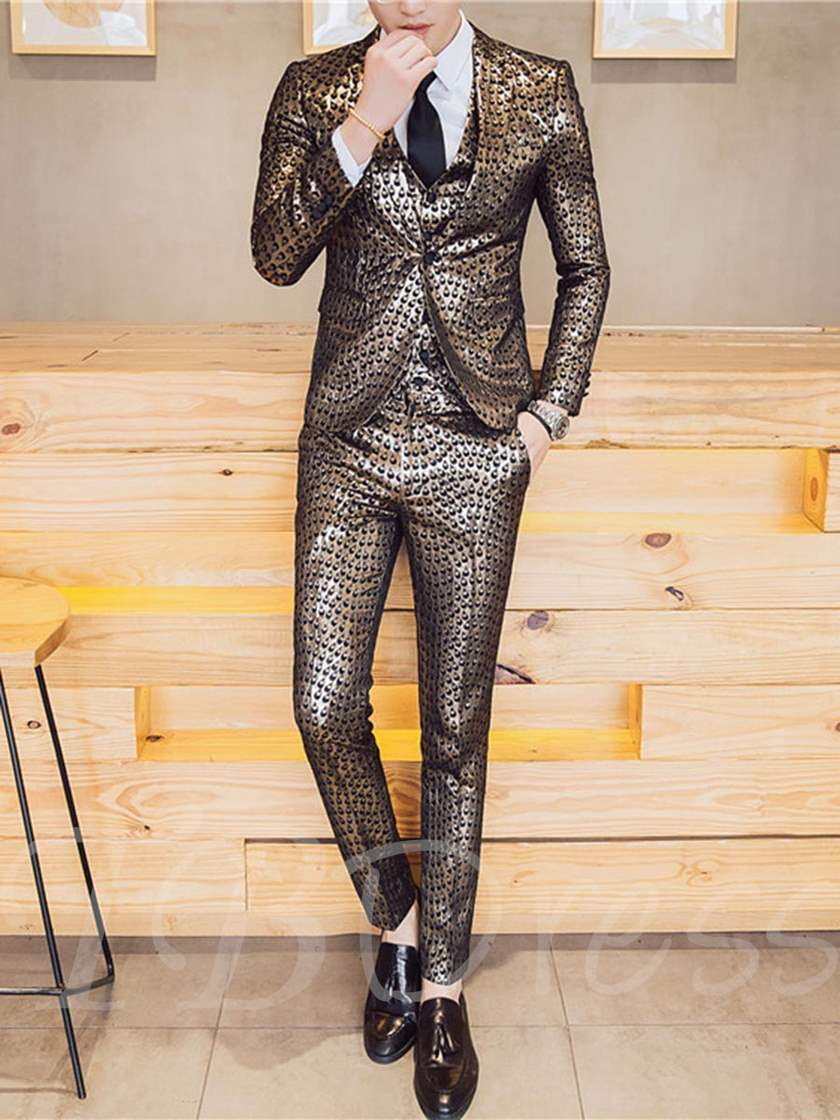 Three Piece Print Slim Men's Dress Suit