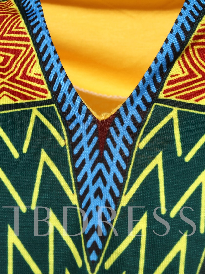African Fashion Dashiki Dress V-Neck African Print Slim Men's Short Sleeve Shirt