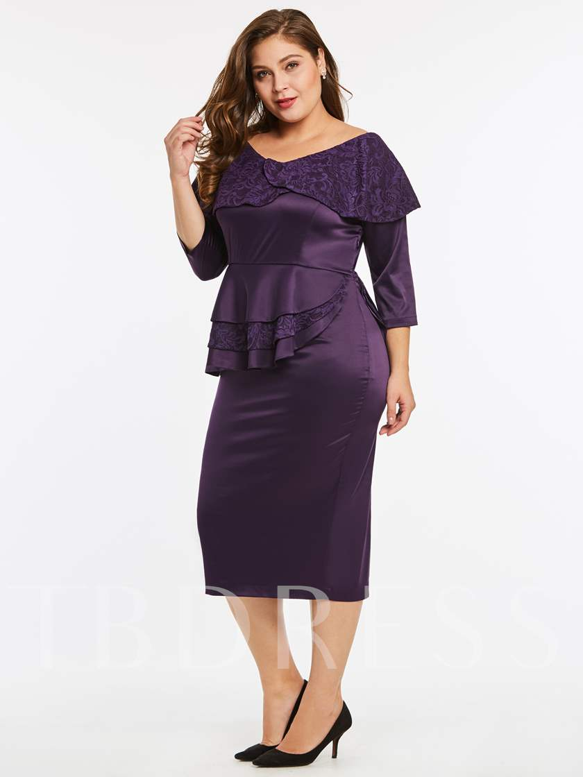 Plus Size Lace-Neck Ruffle Women's Bodycon Dress