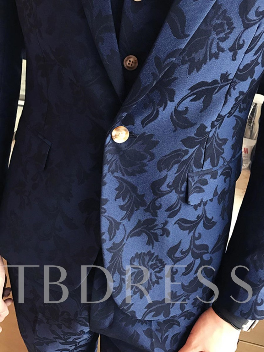 Floral Print Three Piece Slim Men's Dress Suit