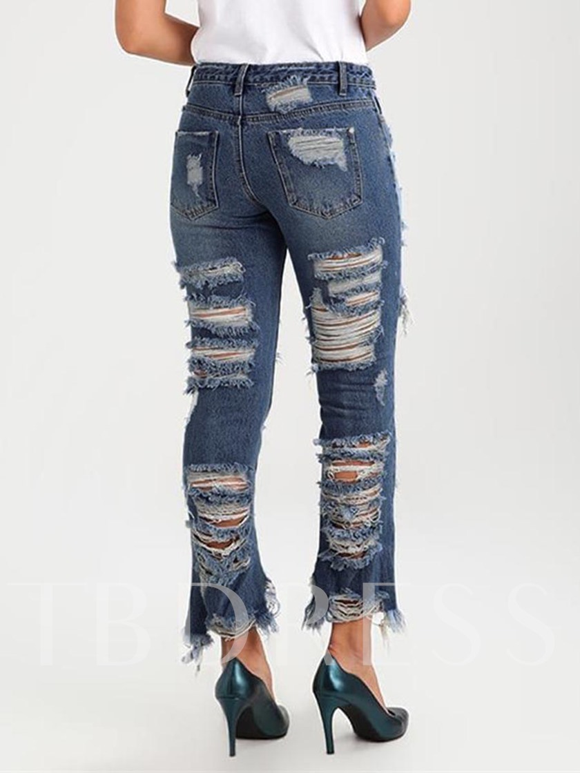 Mid-Waist Denim Button Ripped Pocket Women's Jeans