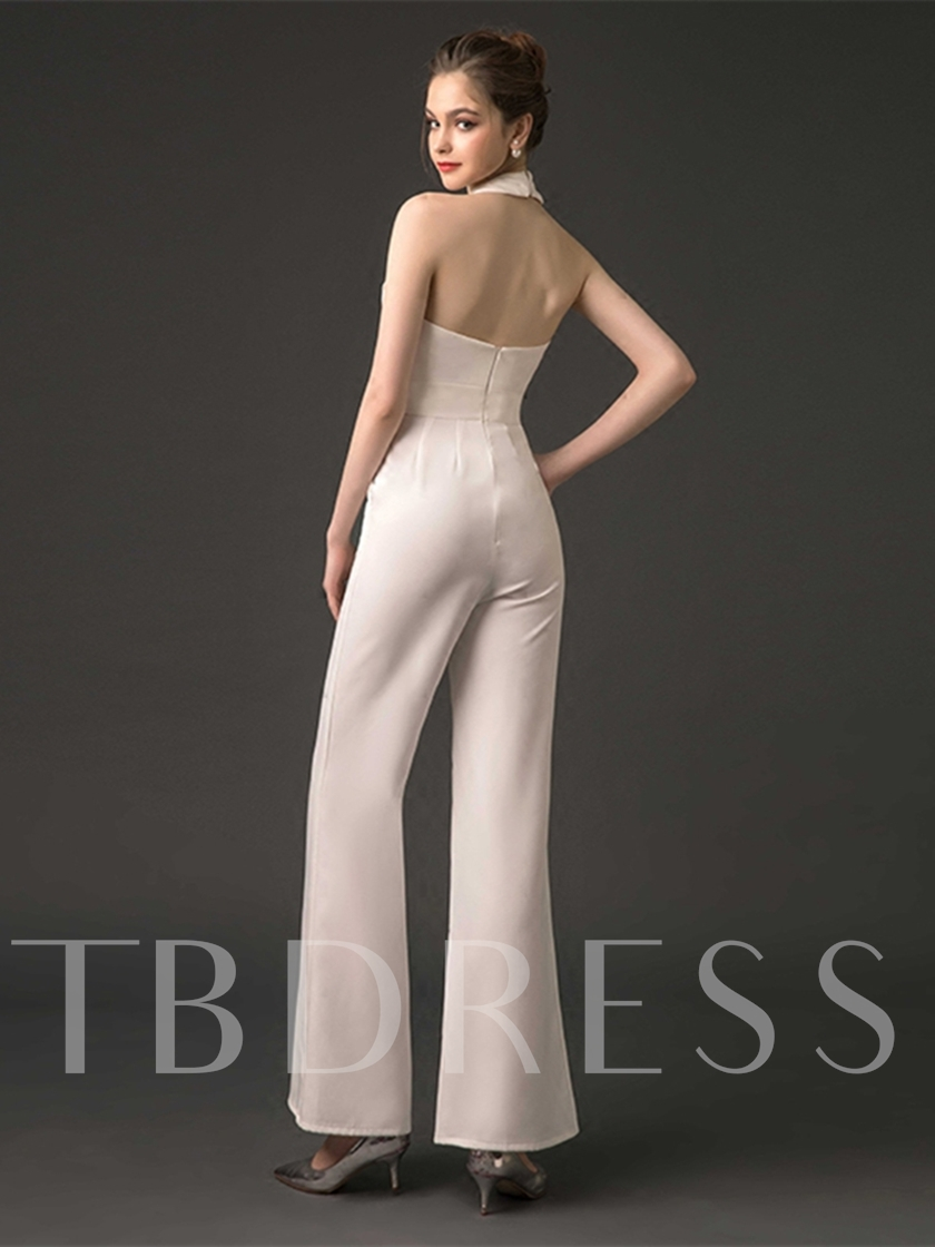 Sheath Halter Pleats Backless Evening Jumpsuits