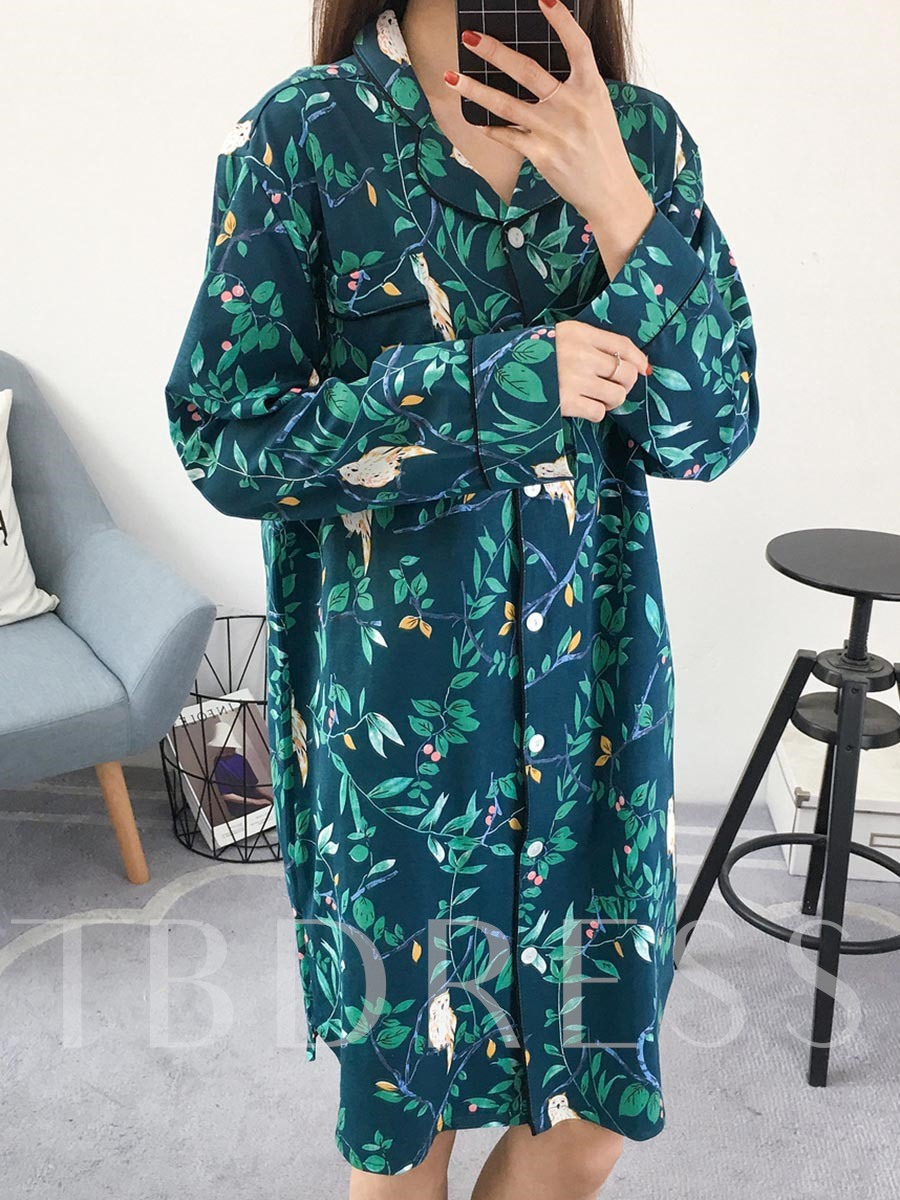 Floral Button Pocket Print Women's Nightgown