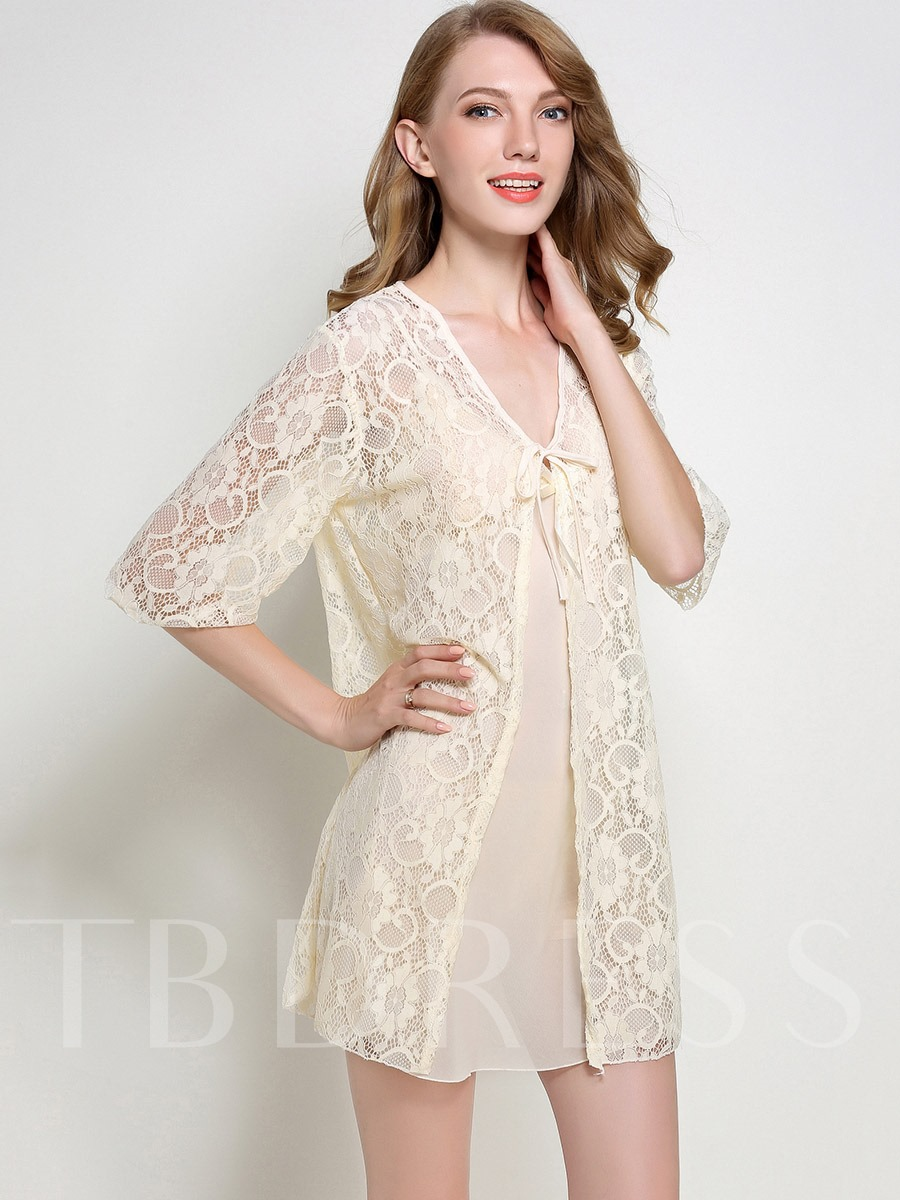 Pajama Bowknot Night Grown and Hollow Lace-Up Robe