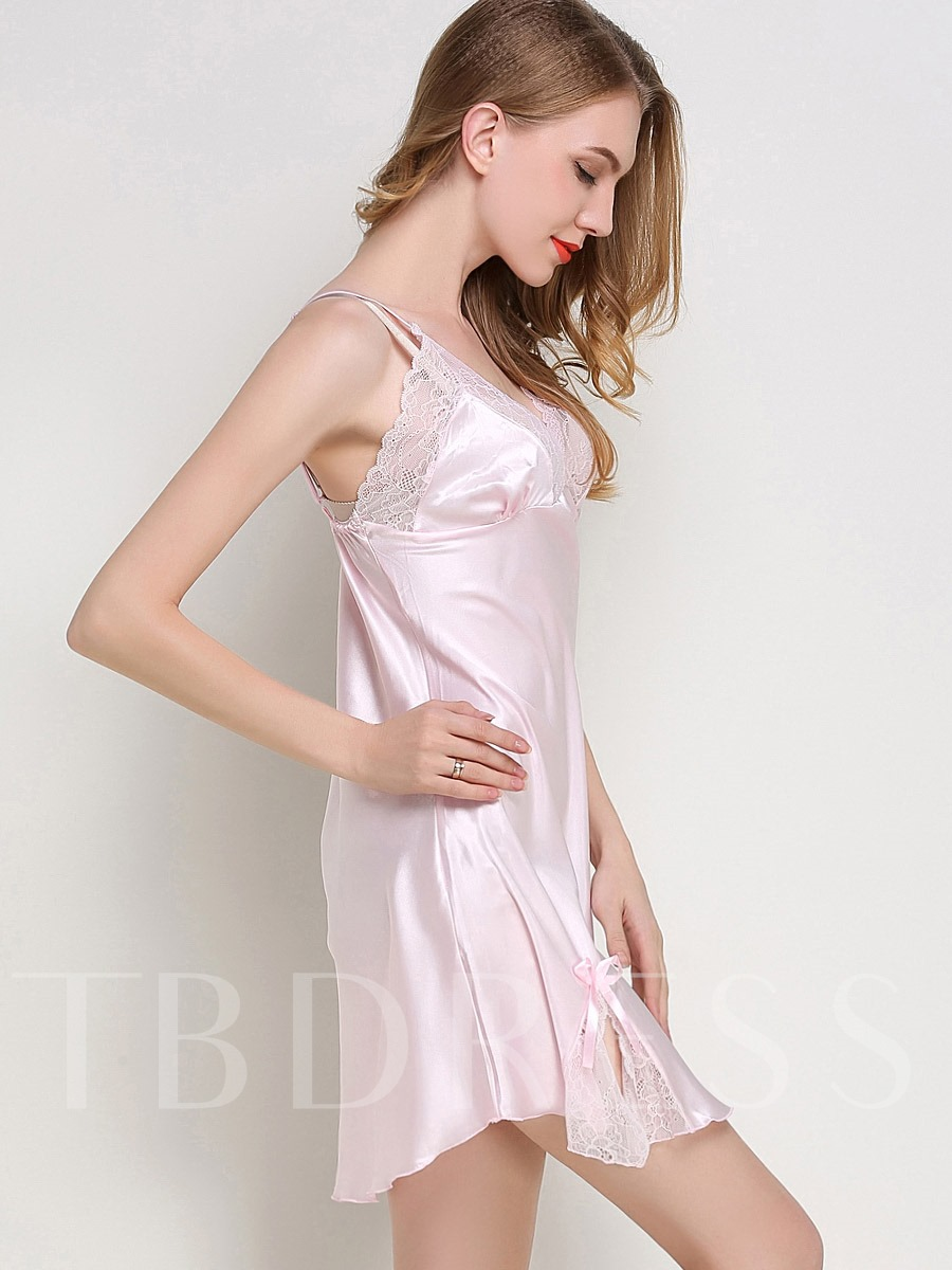 Lace Bowknot Sexy V-Neck Summer Women's Nightgown