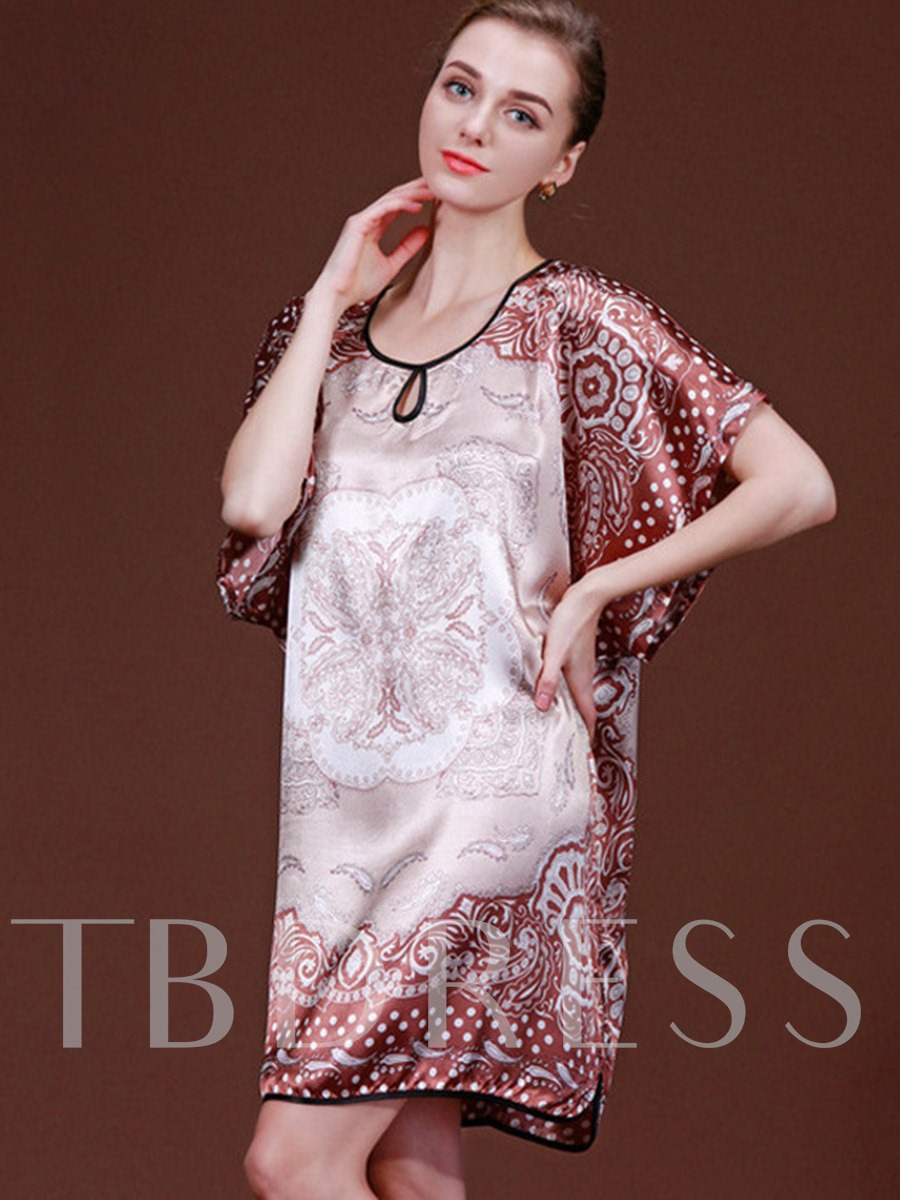 Floral Colorful Round Neck Batwing Sleeve Nightgown