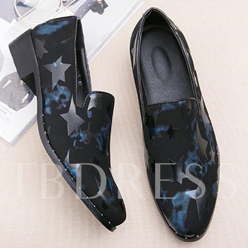 Print Star Slip On Suede Men's High Heel Shoes