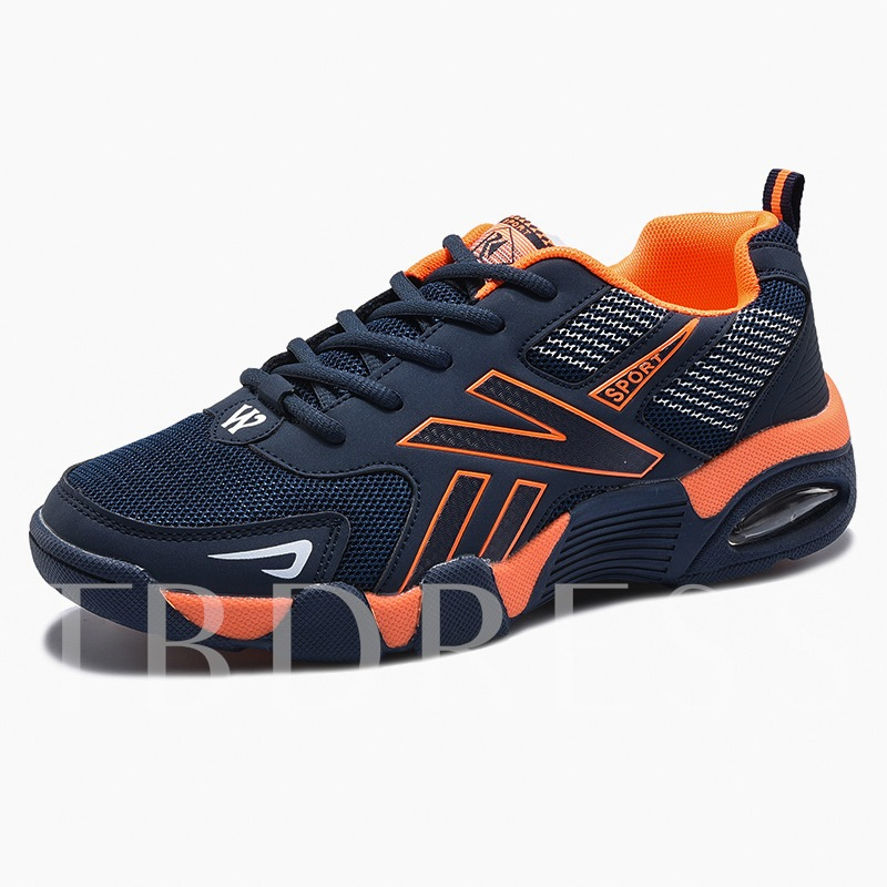 Mesh Rubber Sole Lace Up Sport Shoes for Men