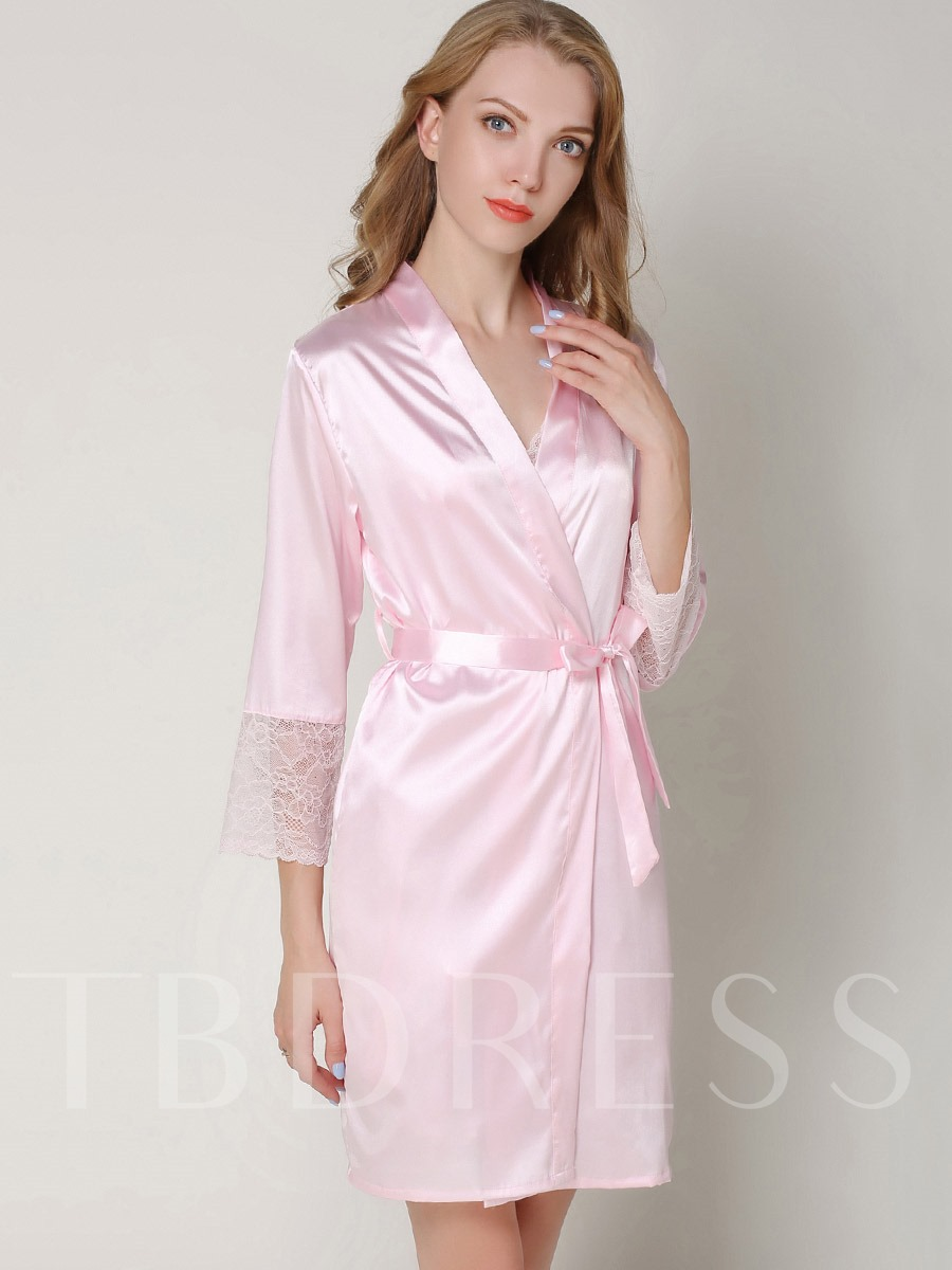 Pajama Loose Lace-Up Mid-Length Thin Night Robe