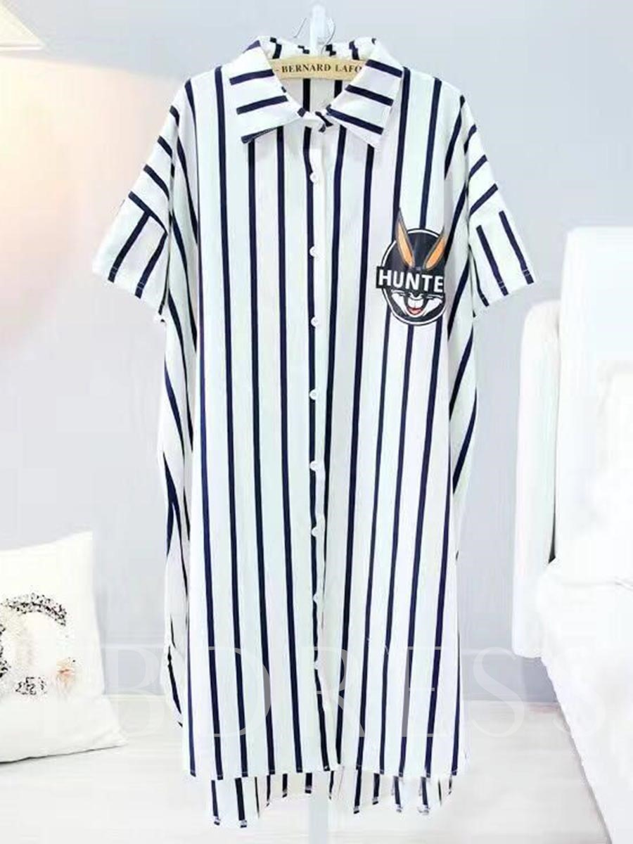 Loungewear Cotton Stripe Lapel Single-Breasted Mid-Calf Nightgown