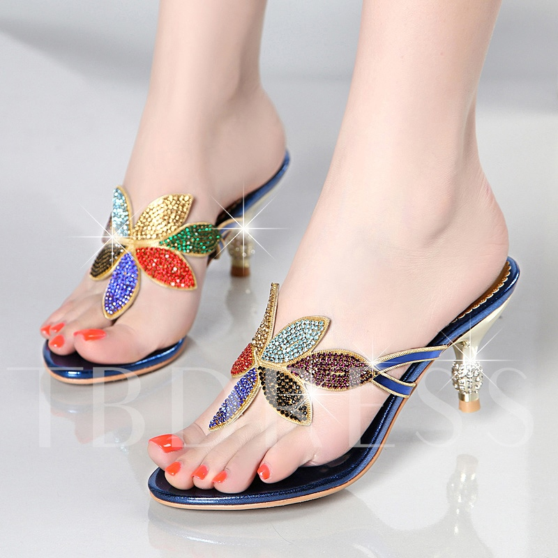 Colorful Rhinestone Floral Thong Heels Sandals women's