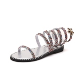 Colorful Sequin Rhinestone Shoes High Shaft Sandals for Women