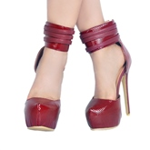 Burgundy Shoes Back Zipper High Heels for Women