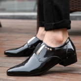 Patent Leather Rivet High Heel Shoes for Men