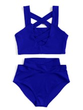Plain Cross Bandage High-Waist Bikini Set