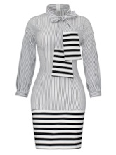 Stripe Tie-Neck Long Sleeve Women's Bodycon Dress