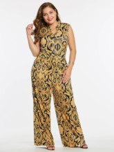 Color Block Plus Size Wide Legs Full Length Women's Jumpsuit