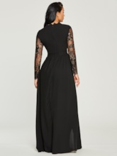 Black Split Lace Patchwork Women's Maxi Dress