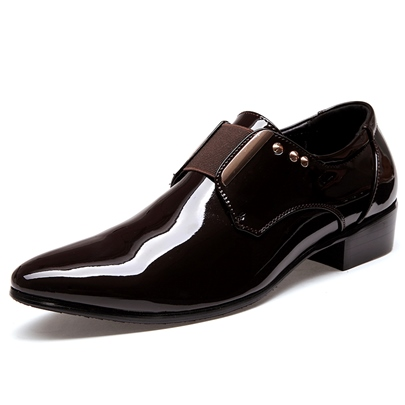 Patent Leather Rivet High Heel Shoes for Men Patent Leather Rivet High Heel Shoes for Men