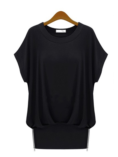Plain Batwing Sleeve Tunic T Shirt For Women