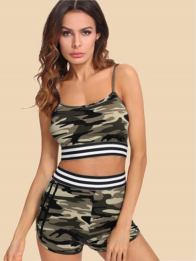 Camo Cami Top with Shorts Women's Two Piece Set