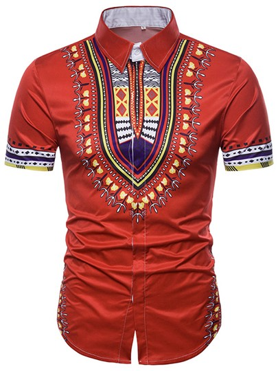 Lapel Dashiki Print Slim Men's Short Sleeve Shirt