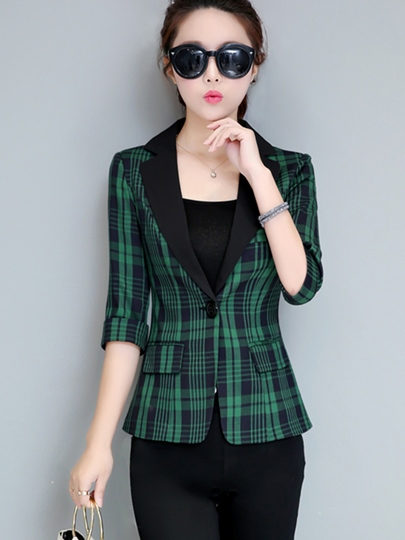 Slimming Notched Lapel Plaid Print Blazer For Women