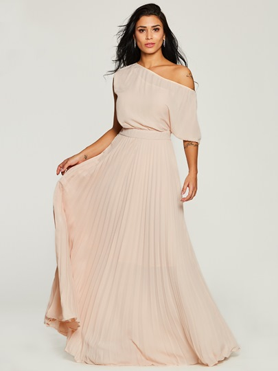 French Romantic Oblique Collar Women's Maxi Dress