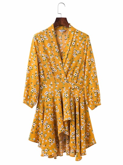 Yellow Floral Women's Day Dress