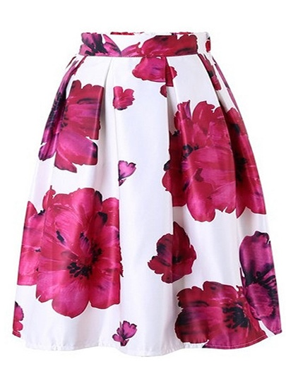 Pleated Floral Print Mid-Calf Women's Skirt
