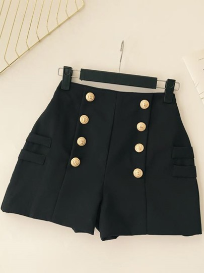 Plain Button High Waist Women's Shorts