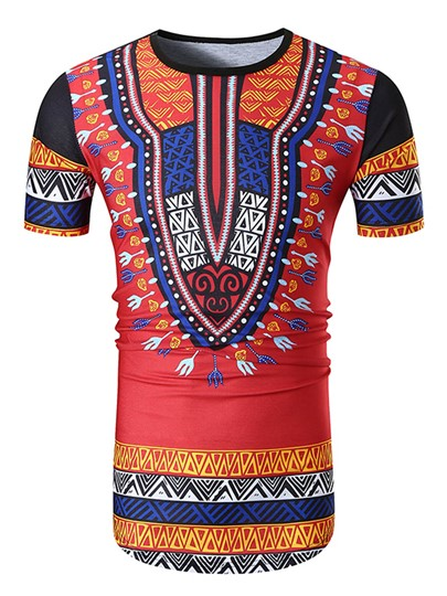Dashiki Cotton Slim Fit Men's Short Sleeve T-Shirt