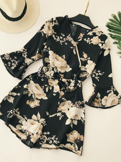 Floral Print High Waist Women's Rompers