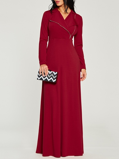 Red Long Sleeve Plain Zipper Women's Maxi Dress