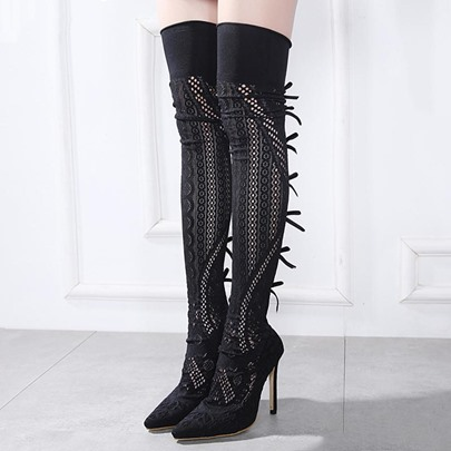 Black Lace Shoes Hollow Out Women's Sexy Thigh High Boots