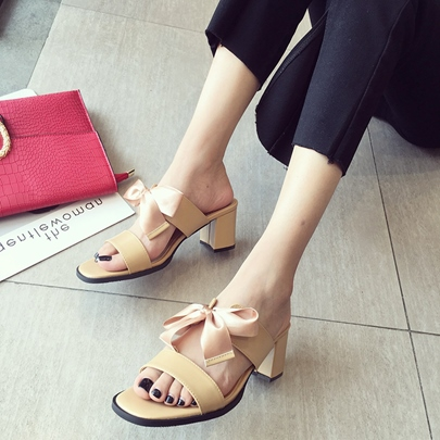 Chunky Heel Lace Up Women's Slippers Sandals