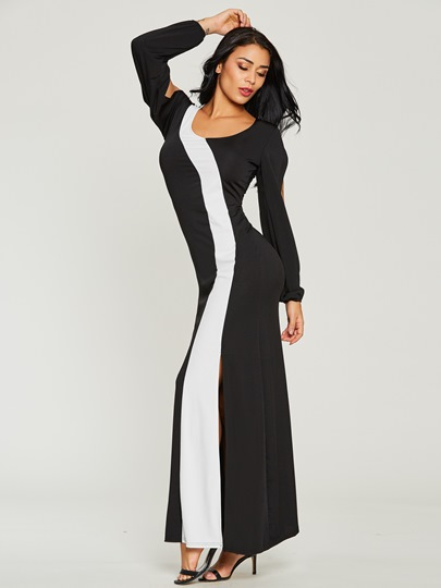 Back Zipper Bodycon Split Womens Maxi Dress