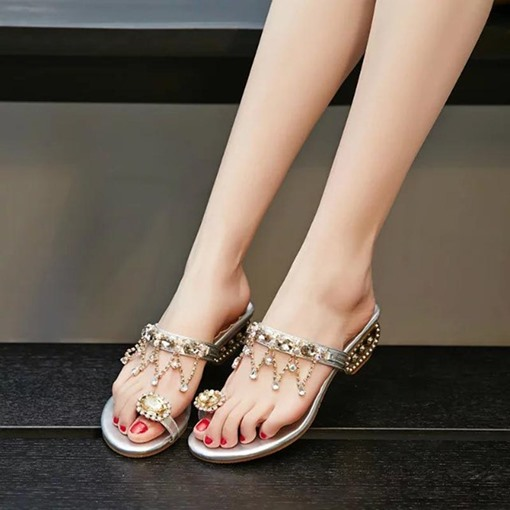 Shaped Heel Toe Ring Shoes Rhinestone Women's Slippers