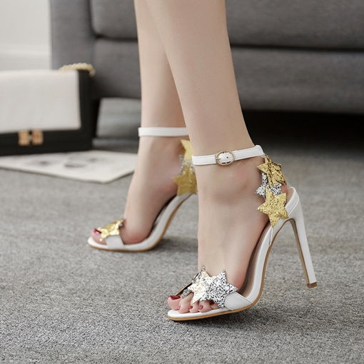 Ankle Strap Sequins Star Women's High Heels Sandals