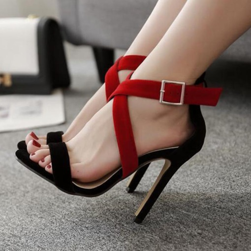 Suede Color Block High Heel Women's Casual Sandals