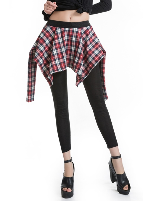 Plaid Patchwork High-Waist Women's Pants