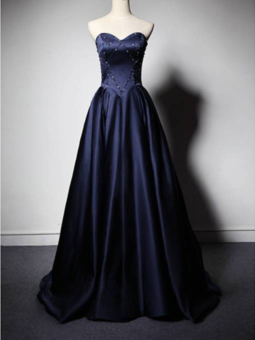 A-Line Sweetheart Beaded Evening Dress