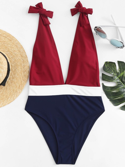 Deep V-Neck Color Block Knotted One-Piece Swimsuit
