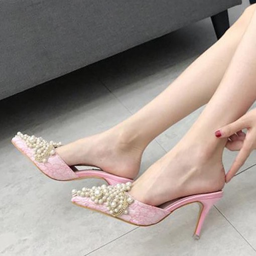 Pearl High Heels Mule Shoes for Women
