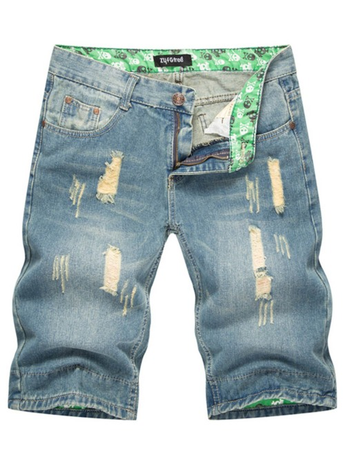 Hole Slim Denim Men's Short Pants