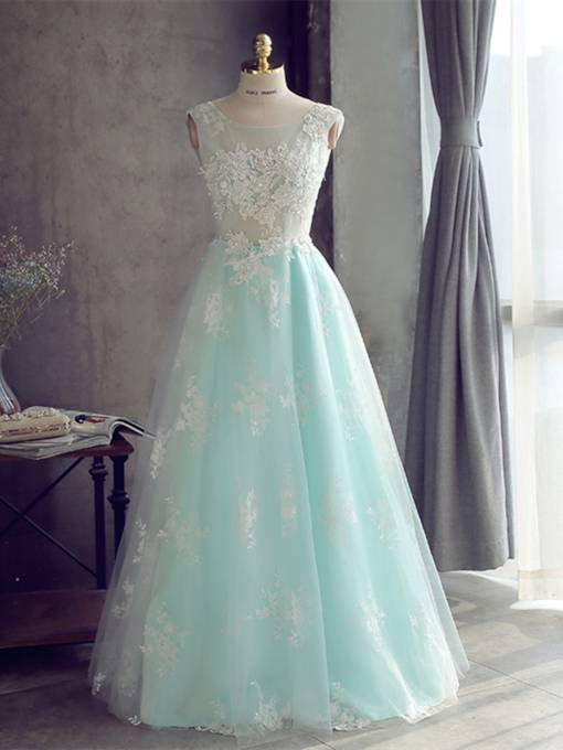 A-Line Scoop Appliques Pearls Prom Dress