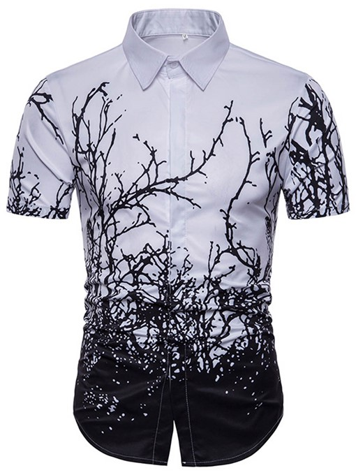 Lapel Leaf Print Men's Short Sleeve Shirt
