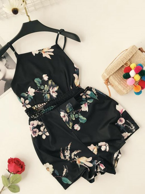 Floral Print High-Waist Women's Rompers